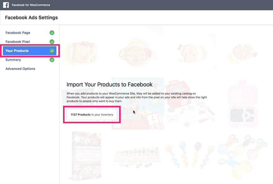 Sync Facebook products